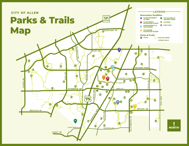 City of Allen Parks and Trails Map