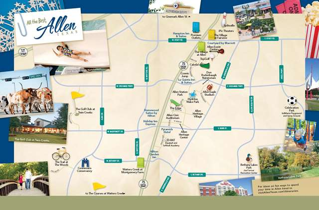 Easily find your way around Allen with this handy attraction map!