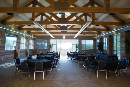 The Courses at Watters Creek Pavilion can accomodate up to 150 people and offers beautiful views of the golf course
