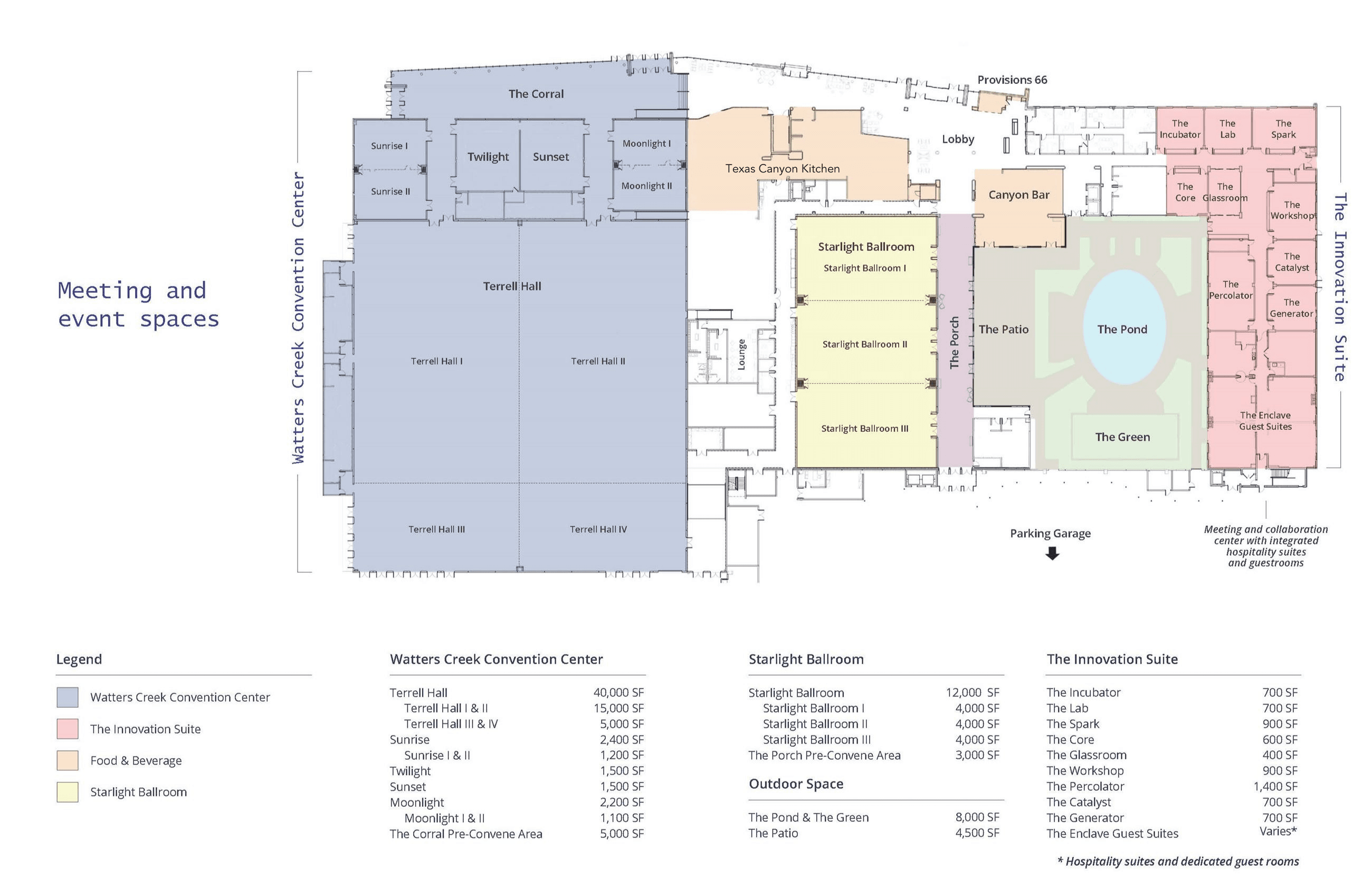 Watters Creek Convention Center Meeting Spaces Floorplan - 2021