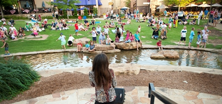 With lush grass and a tree house-like play area, The Green at Watters Creek is another great scene for a variety of events. Events include fine arts festivals, concerts, movies and more.