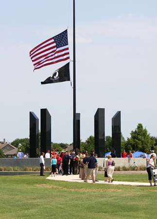 The Allen Veteran's Memorial honors all branches of military service with five 18-foot granite monoliths surrounding a 65-foot American flagpole