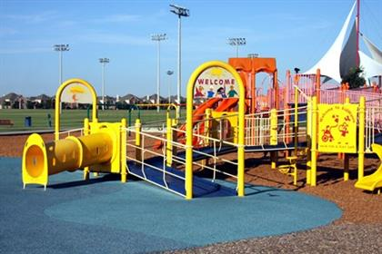 Covering more than one acre, kidMania is the largest handi-cap accessible playground in Texas.